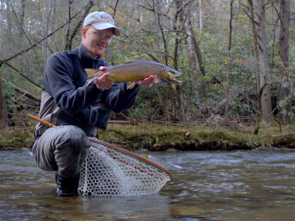 Fly fishing guides David Knapp with a big Smoky Mountain brown trout