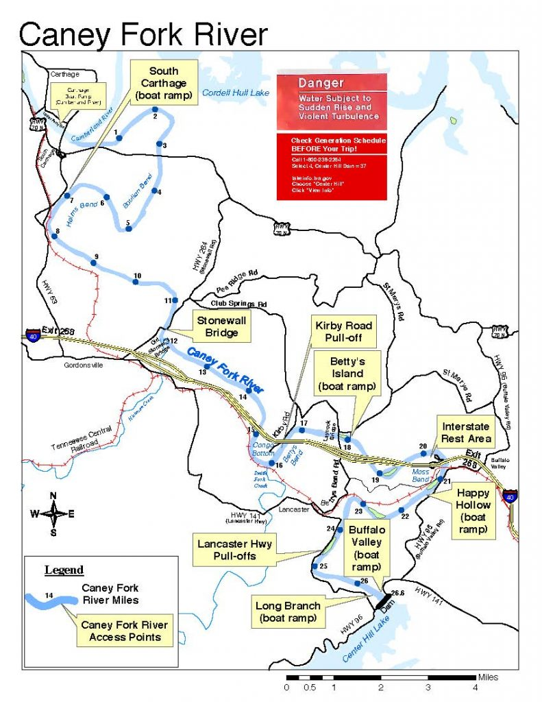 Caney Fork River Fishing Access Map