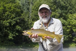 A nice Caney Fork River brown trout for Bill caught with Caney Fork Fly fishing guide David Knapp