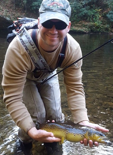 A big Smoky Mountain brown trout for fly fishing guides Travis Williams