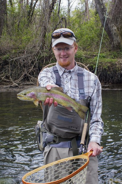 Clinch River fly fishing guide David Knapp with a chunky and beautifully colored rainbow