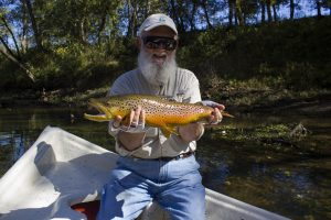 A Caney Fork River fly fishing guide can help you catch big brown trout such as this
