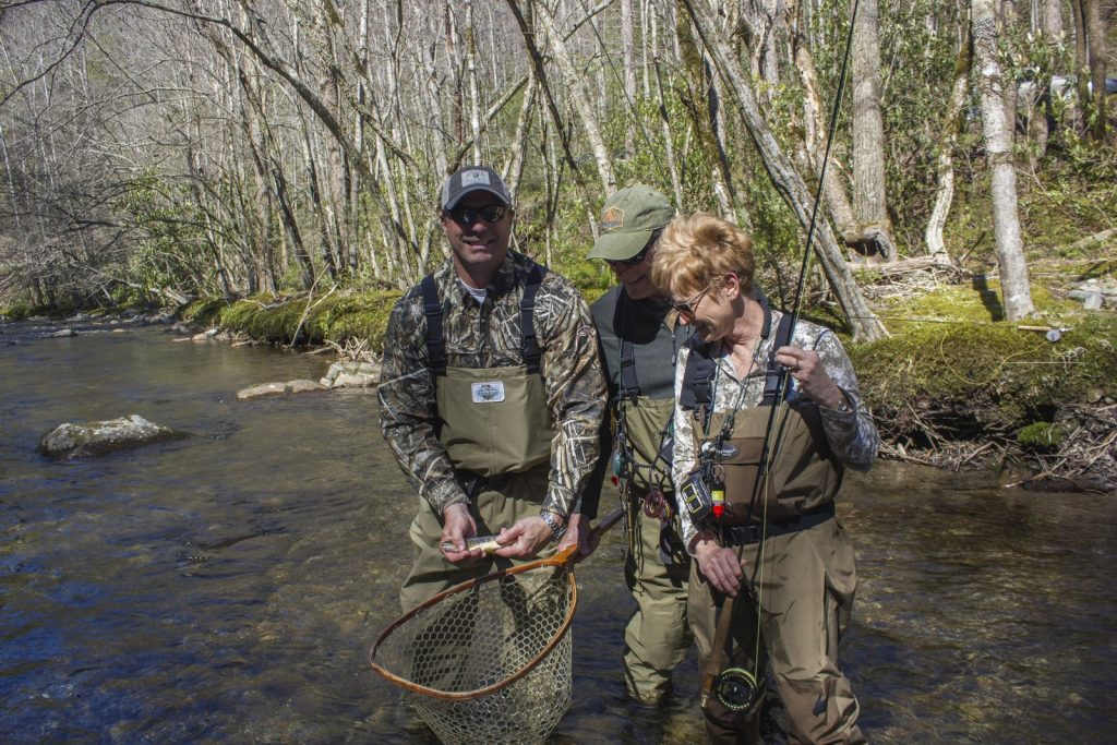 Fishing with Great Smoky Mountains fly fishing guide David Knapp results in a family memory