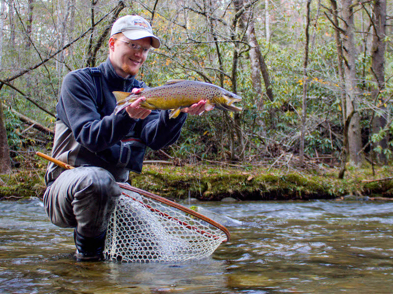 Fly fishing guide David Knapp with a big Smoky Mountain brown trout